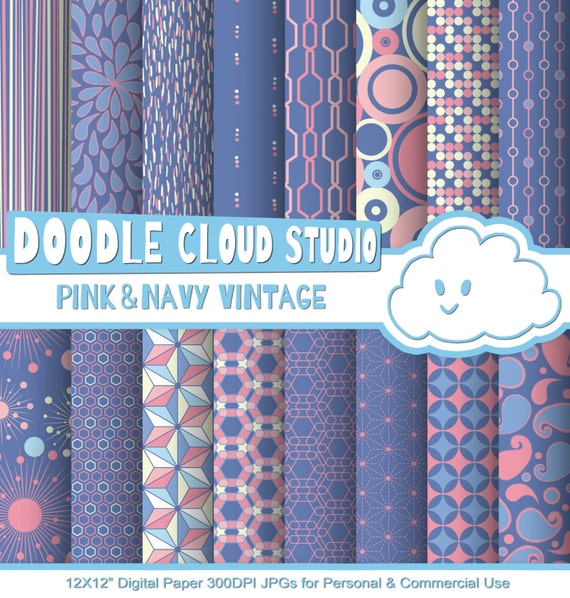 Pink And Navy Retro Digital Paper, Geometric Vintage