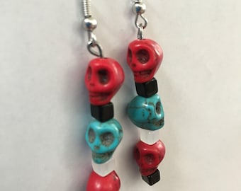 Red and turquoise colored skull