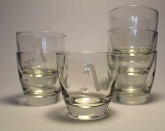 "A Set of Six Vintage Libbey Rocks Glasses with Etched ""A"" Monogram"