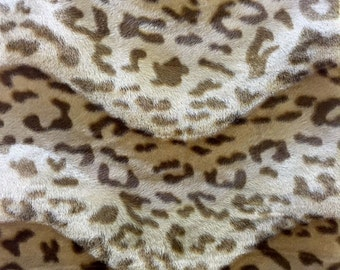 "Taupe Baby Leopard Velboa Faux Fur Fabric - Sold By The Yard - 58""/ 60"""