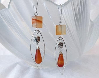 Natural agate drops sterling silver dangling earrings with sterling silver wire