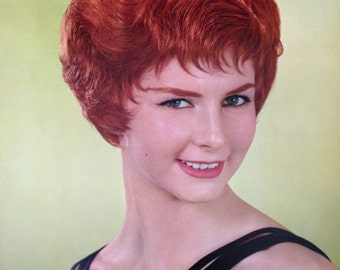 """Vintage Retro Beauty Shop Hairstyle Poster """"Hairstyle of the Month"""" 1960s Vintage Beauty Salon, Hairstylist Decor Red Haired Model"""