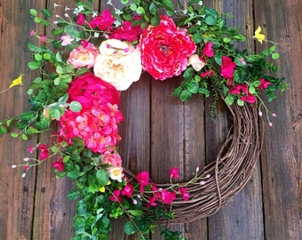 Summer Wreath, Summer Wedding Wreath, Wreath For Door,Rustic Wreath, Spring Door Wreath, Wedding Wreath, Summer Wreath For Door, Home Decor