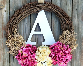 Monogram Wreath, Summer Door Wreath,Spring Decor, Summer Monogram Wreath, Summer Wreath, Spring Door Wreath, Wedding Wreath, Letter Wreath
