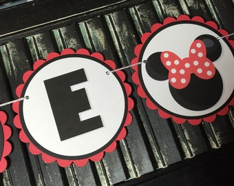 Minnie Mouse High Chair Banner-High Chair Bunting-First Birthday-Photo Prop-Birthday-Baby Shower-I Am One-One Year Old Banner-Girl Mouse