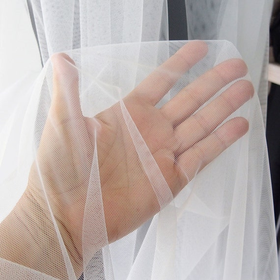 How To Basket Weave Tulle : Off white tulle fabric for embroidery all purpose bridal