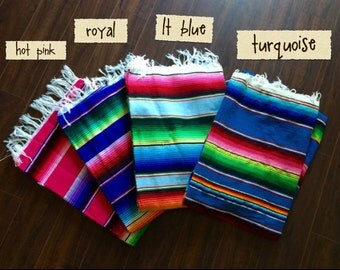 Waterproof Nylon Backed Extra Large Size Mexican Serape Picnic Blanket with Waterproof nylon Backing.