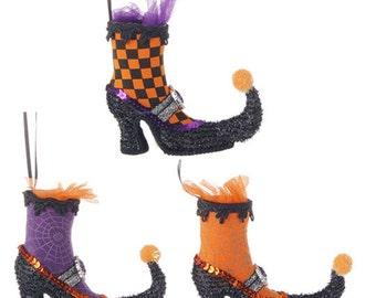 "RAZ Imports 5"" Witch Boot's-Set of 3/Wreath Enhancement/Halloween Decor/H3416030"