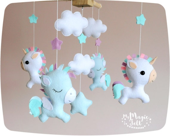 baby mobile unicorn baby mobile pegasus white baby mobile. Black Bedroom Furniture Sets. Home Design Ideas