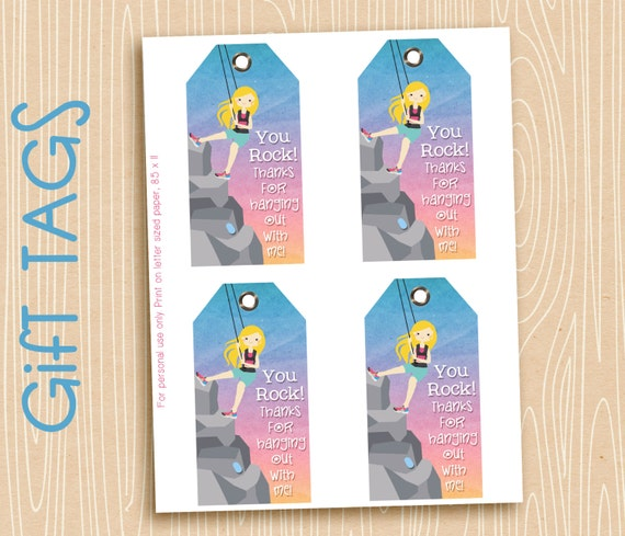 Printable Birthday Party Tags, Thank you tags, bag tags, favor tags, Rock Climbing, Hiker. INSTANT DOWNLOAD