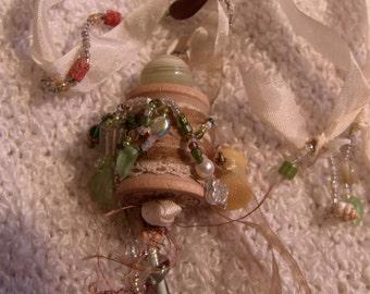 Spool Pendant  Necklace with Lion Charm