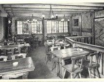 Hotel Restaurant Le Mazot, Lucerne, Switzerland, Interior Real Photo Unused 1960 Black and White Postcard