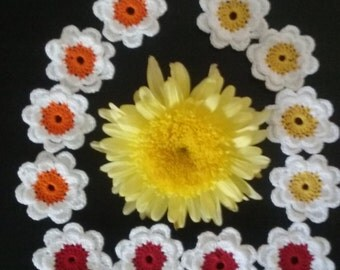 Crochet Double Layer Flowers Appliques set of 12 - Crochet Flowers Appliques,