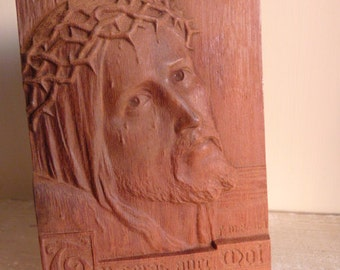 Carved wooden religious plaque signed Jesus in crown of thorns Luke 23:43 Catholic Christian Religious vintage French