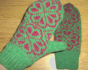 Hand Knitted Ladies Mittens