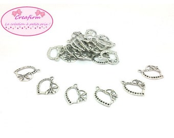 40 charms hearts with flowers