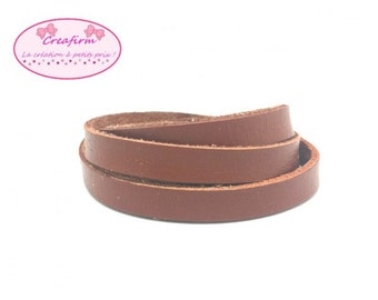 2 m cord leather flat 10mm light brown