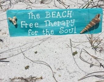 Beach Wall Decor Beach Therapy Sign Coastal Decor Beach Themed Seashell  Decor Wood Beach Signs Beach
