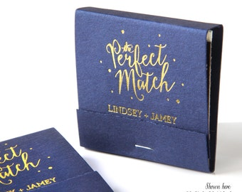 THE PERFECT MATCH Matchbooks, Min of 50 - Wedding Favors, Party Favors, Custom Wedding Matches, Foil Stamped Matchbook Favors