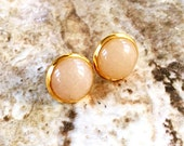 Yellow aventurine stone studs, gold plated, 12mm stone, natural, posts, semi-precious gemstone, large stud neutral color, tan, golden yellow