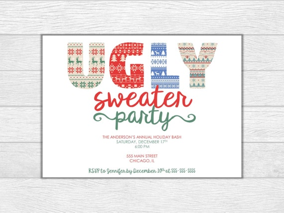 Christmas party, holiday party, christmas invitation, christmas invite, holiday party invitation, ugly sweater party, printable invitation