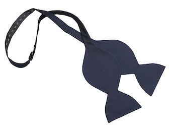JA Panama Silk Navy Blue Butterfly Self Tie Bow Tie