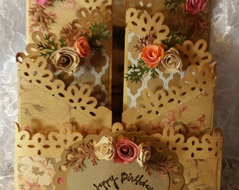 Any Occasion 3D Multi Layered Floral Greeting Card
