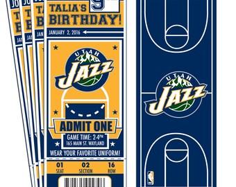 12 Utah Jazz Custom Birthday Party Ticket Invitations - Officially Licensed by NBA