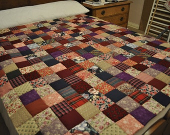 Patchwork quilt | Etsy : brown patchwork quilt - Adamdwight.com