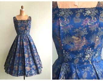 Vintage 1950's Blue Silk Japanese Nature Print Dress    Size Small