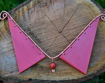 Copper necklace chain Copper collar necklace Collar necklace Wire wrapped necklace Polymer clay necklace Polymer clay pendant Steampunk