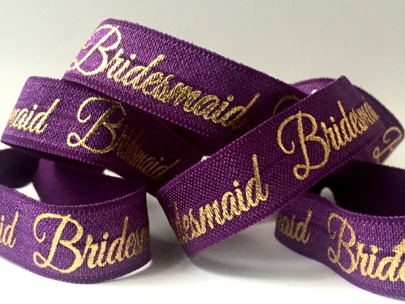 Purple and Gold Bridesmaid Hair Tie-Set of 4