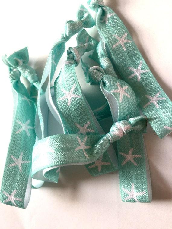 Seafoam and White Starfish Hair Tie