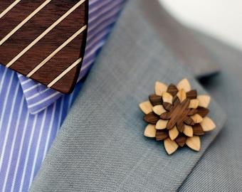 Walnut And Maple Lapel Pin - Wood Lapel Pin - Mens lapel flower
