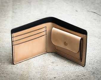 Handmade Leather Bifold Wallet - vegetable tanned wallet - Customized Bi-fold Wallet with Coin Pocket