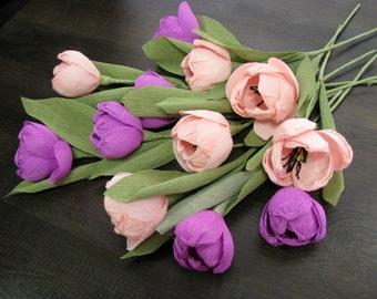 Pink purple paper flower, Tulips, Crepe paper flowers, Wedding bouquet, Pape f bouquet, Bridal flowers, Wedding centerpieces tulips