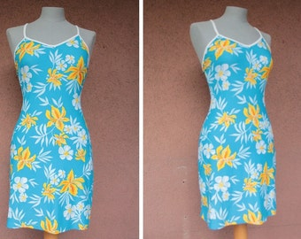 1990's Cultur Beach Hawaiian Swimdress - 90's Flowered Swimsuit