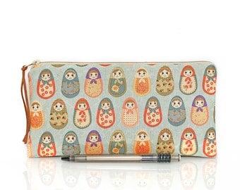 Russian Matryoska, Nesting Dolls Pouch, Pencil Case, Make Up Bag, Necessity bag, Make Up bag, Cosmetic bag, zipper pouch, Teacher gift
