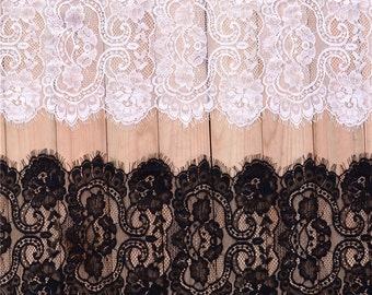 Graceful Eyelash Lace Fabric 11.81 Inches Wide Scalloped Lace Fabric 1 Yards For Dress Veil Costume Supplies YL269