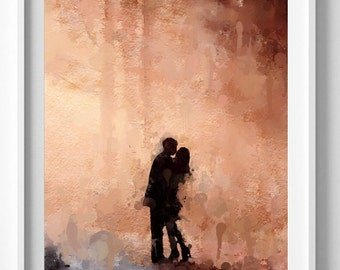 Love print First kiss painting art print Wedding gift Valentine's Day Pic No 118