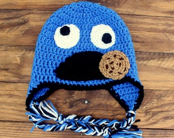Crochet Cookie Monster Earflap Hat - Size 9-12 Months
