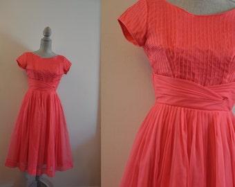 Vintage 1950s dress   pink chiffon 50s party dress •  Sweet Tea dress