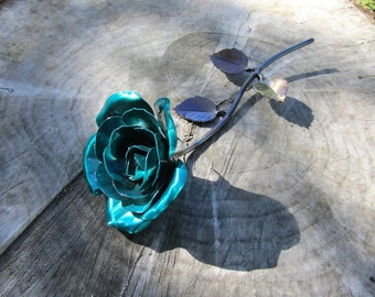 Hand-forged wrought iron emerald green metal rose