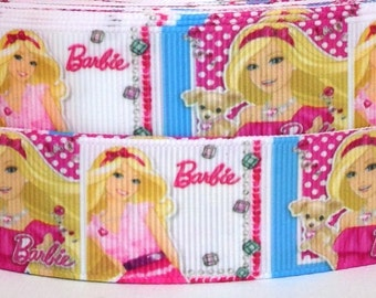 "Barbie 1"" Grosgrain Ribbon - Barbie Ribbon - 3 yards Barbie Grosgrain Ribbon - Barbie Grosgrain Ribbon"
