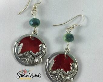 Little Mermaid Inspired Silver Mermaid Dangle Earrings