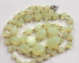 Vintage Simulated Opal Glass Bead Graduated Long Necklace/Lobster Clasp/Semi Translucent Bead/Milky Opalescent Glow