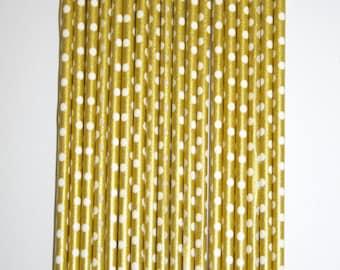 Set of 12 Cake Pop Sticks Gold With White Polka Dots