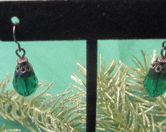 Glass Teardrop Earrings, Black Earrings, Green Earrings, Dangle Earrings, Hypoallergenic, Silver Earrings