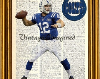 Indianapolis Colts Andrew Luck dictionary art print on  upcycled vintage dictionary page 8x10