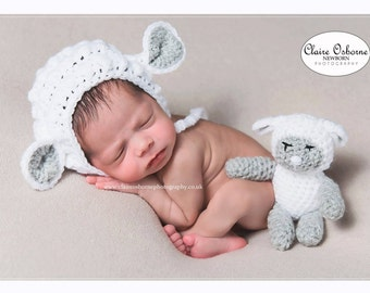 newborn lamb bonnet with lamb soft toy, sheep hat, lamb hat photo prop